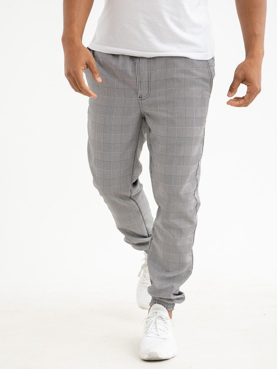 Spodnie Materiałowe Jogger Grube Lolo Core Squared Czarne / Białe