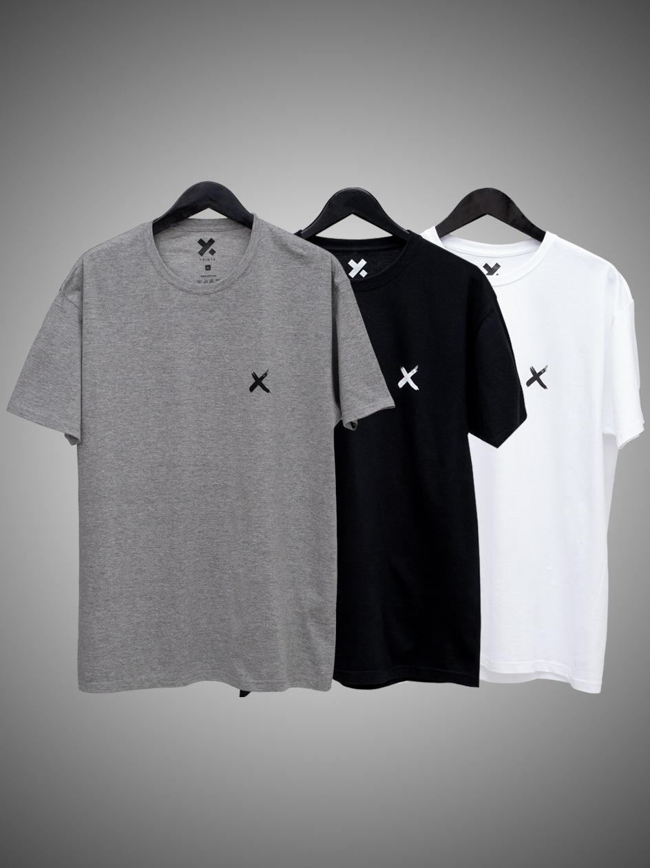 Zestaw 3 T-Shirtów Point X Mini X Czarny / Biały / Szary