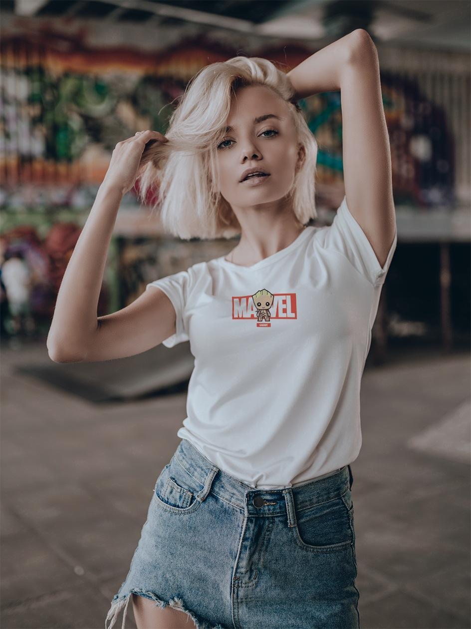 Damska Koszulka Z Krótkim Rękawem Marvel Comics Groot Before Biała