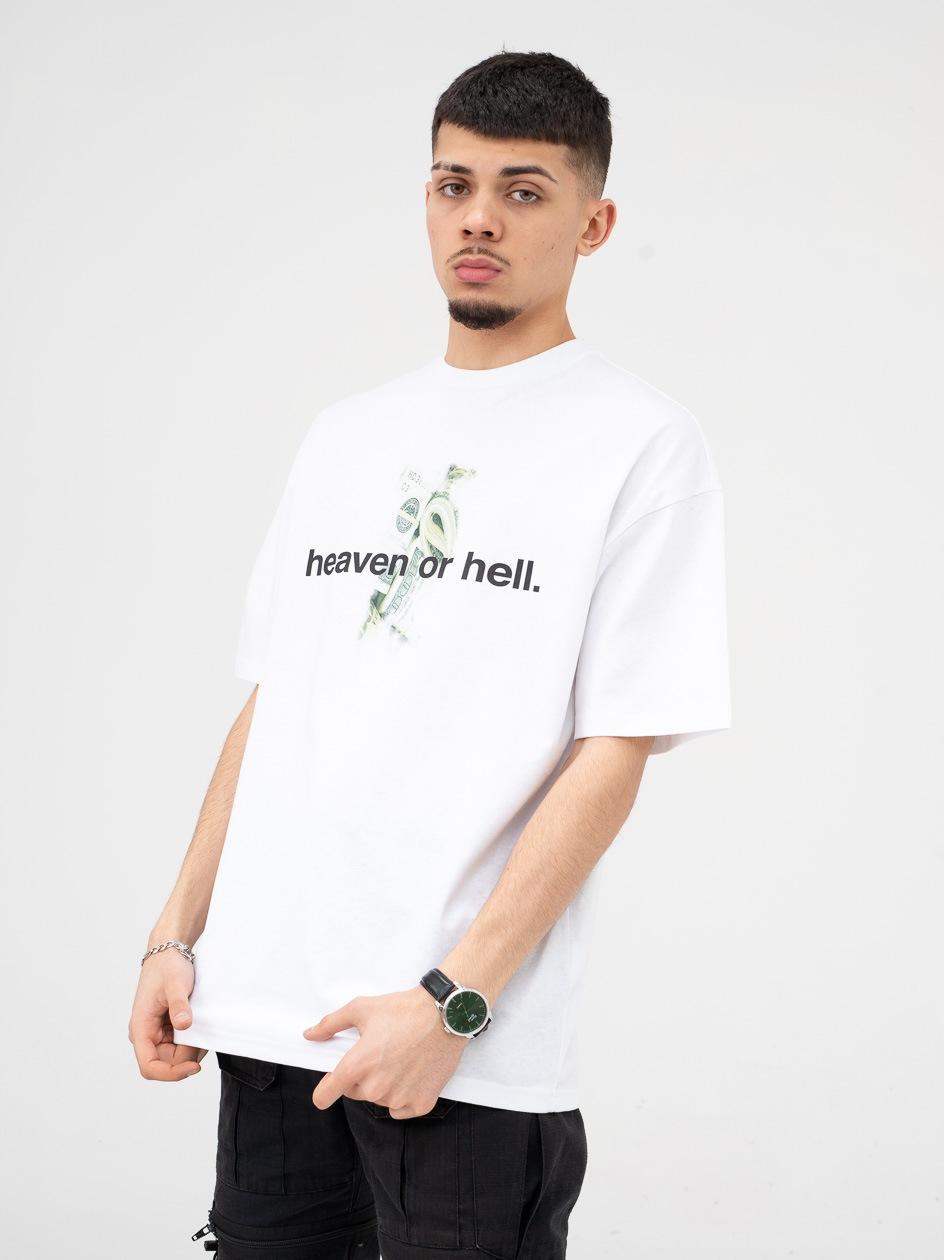 Koszulka Z Krótkim Rękawem 9N1M Sense. Heaven Or Hell Biała