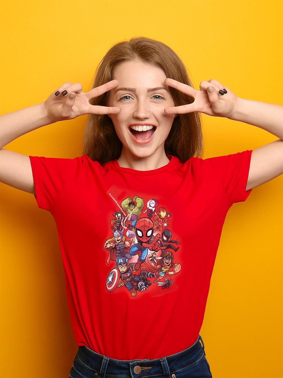 Damska Koszulka Z Krótkim Rękawem Marvel Comics Super Hero Czerwona