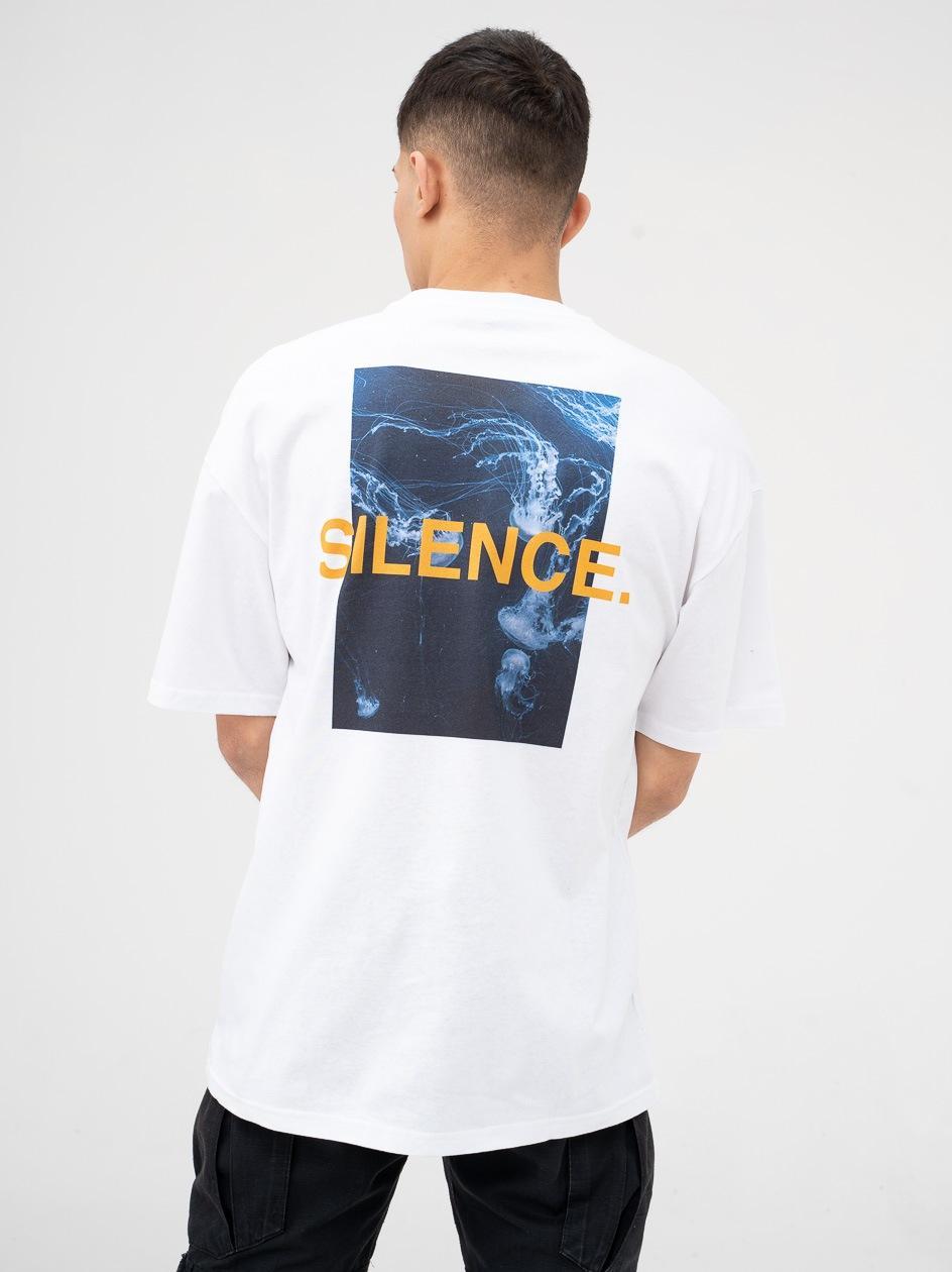 Koszulka Z Krótkim Rękawem 9N1M Sense. Silence Waves Biała