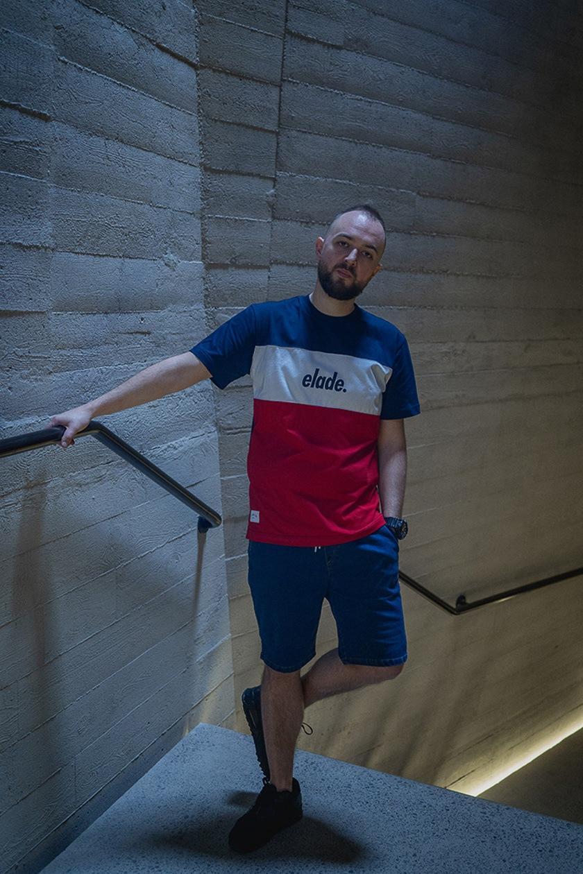 Koszulka Z Krótkim Rękawem Elade Colour Block Granatowa / Biała / Czerwona