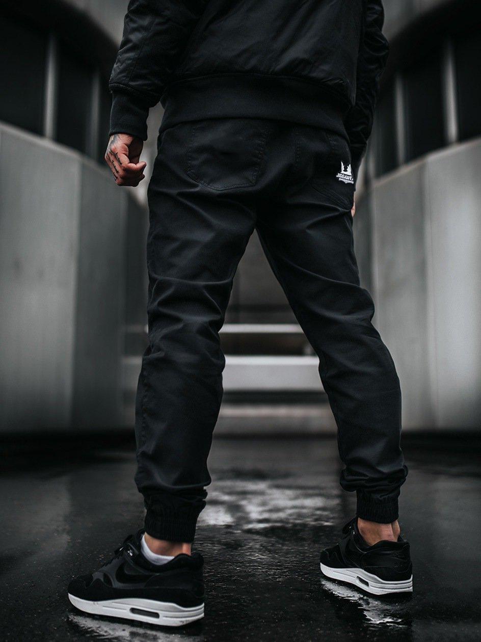 Spodnie Materiałowe Jogger Jigga Crown Stitch Czarne / Białe