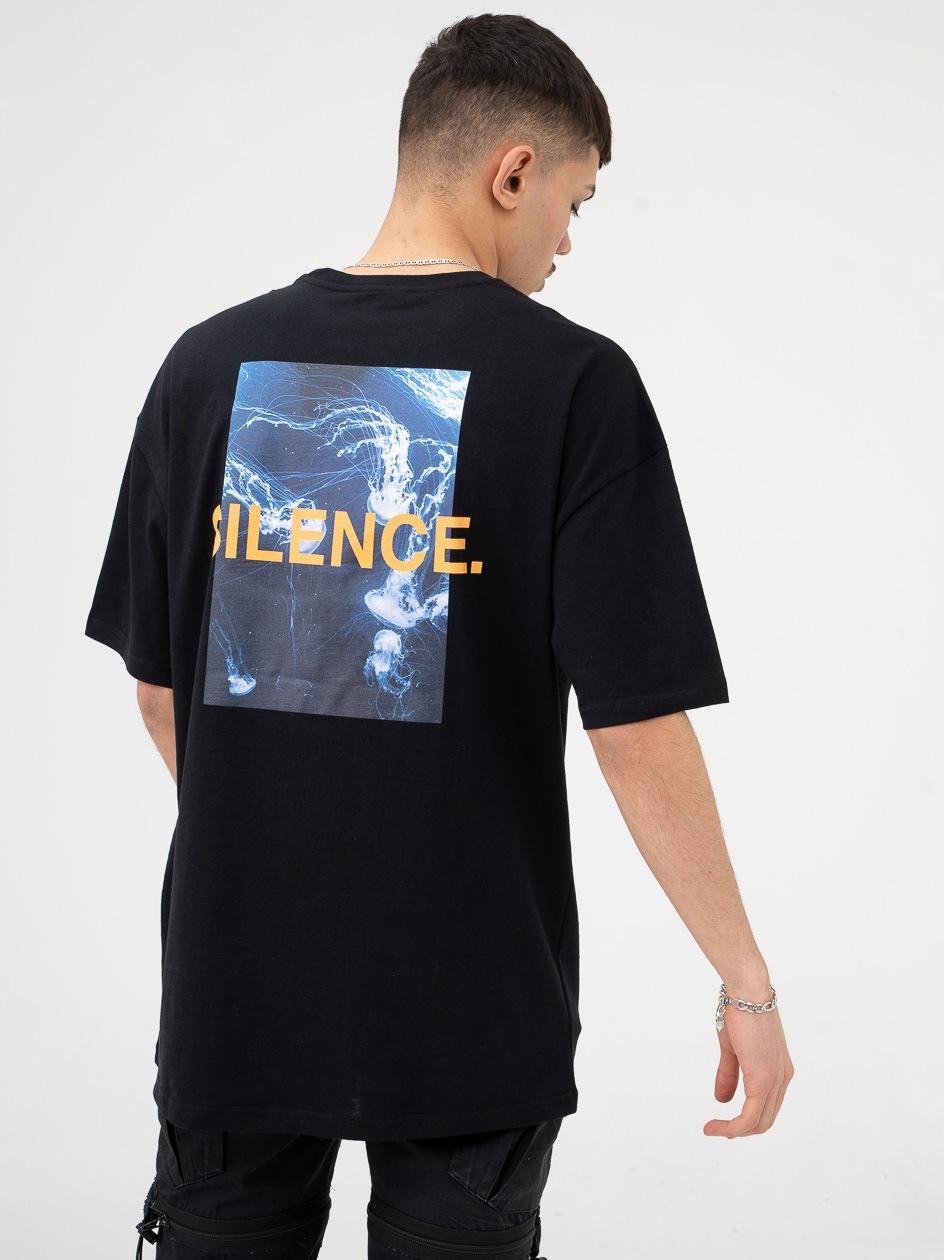 Koszulka Z Krótkim Rękawem 9N1M Sense. Silence Waves Czarna