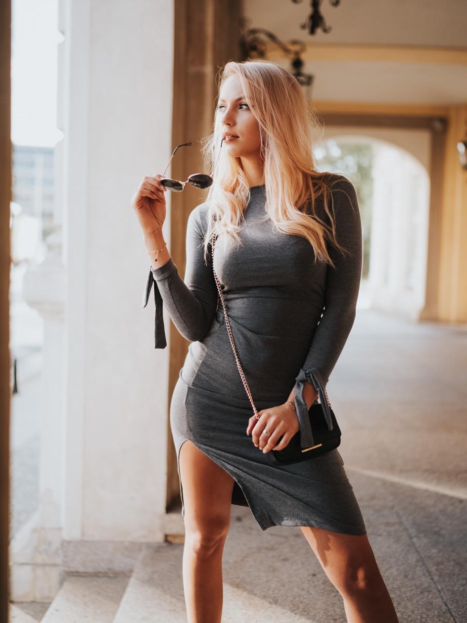 Sukienka Maxi Z Długim Rękawem Point X Bond Ciemna Szara