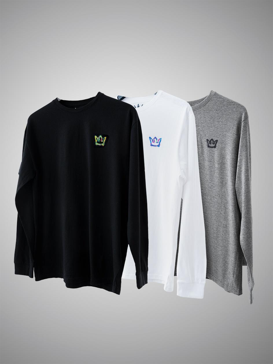 Zestaw 3 Koszulek Długim Rękawem Jigga Wear Mini Spray Czarna / Szara / Biała