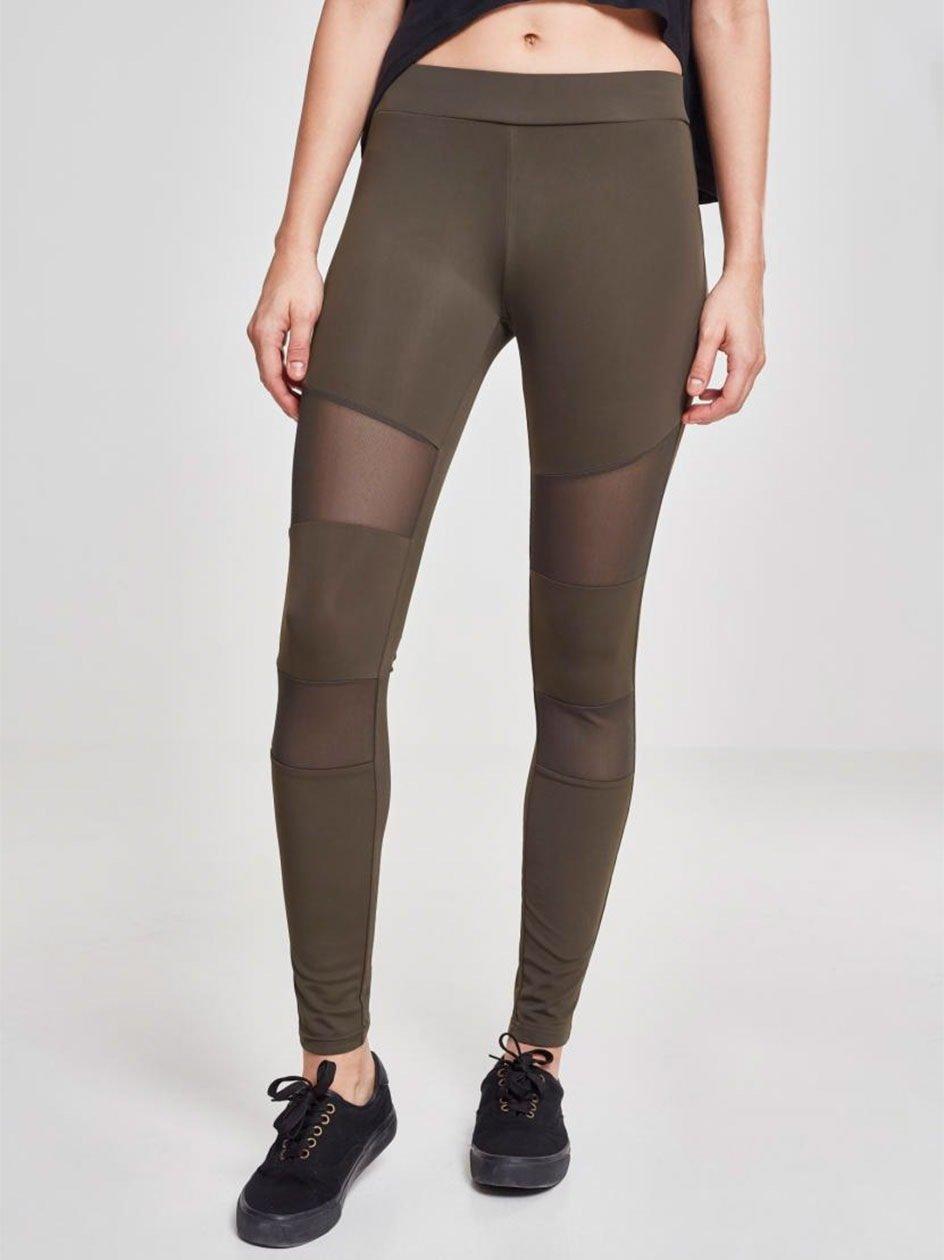 Ladies Tech Mesh Leggings Dark Olive TB1174