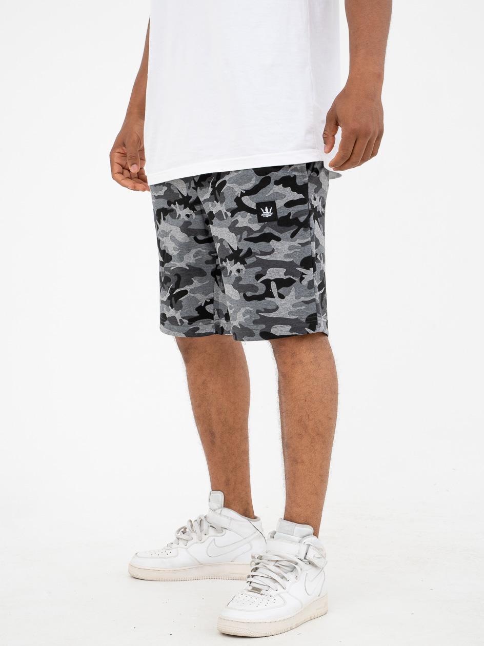 Krótkie Spodenki Dresowe Jigga Wear Stripe Szare Camo