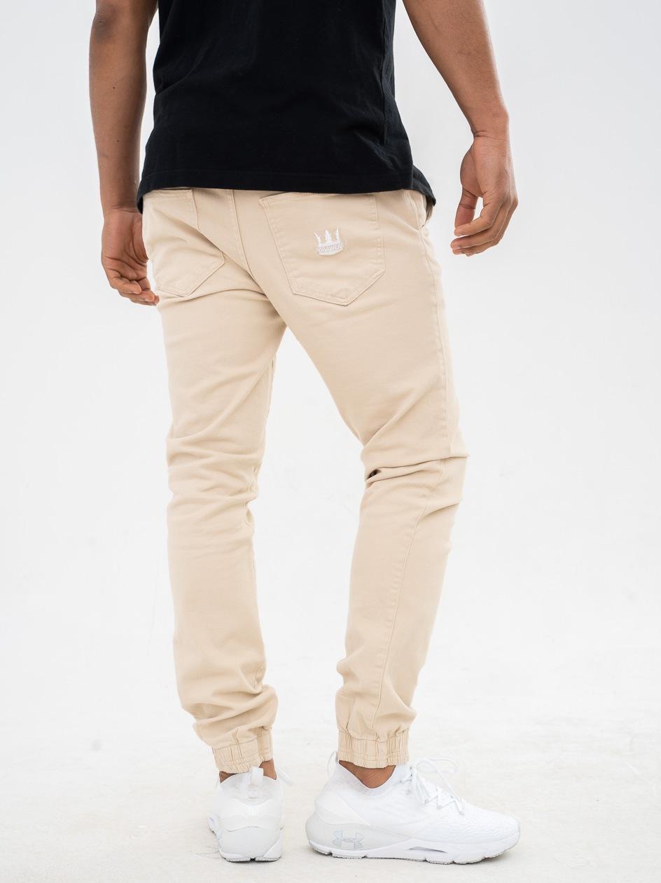 Spodnie Materiałowe Jogger Jigga Crown Stitch Jasne Brązowe / Białe
