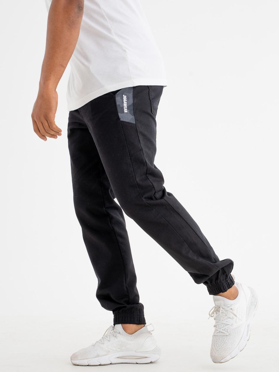 Spodnie Materiałowe Jogger Jigga Vertical Name Czarne / Szare Camo