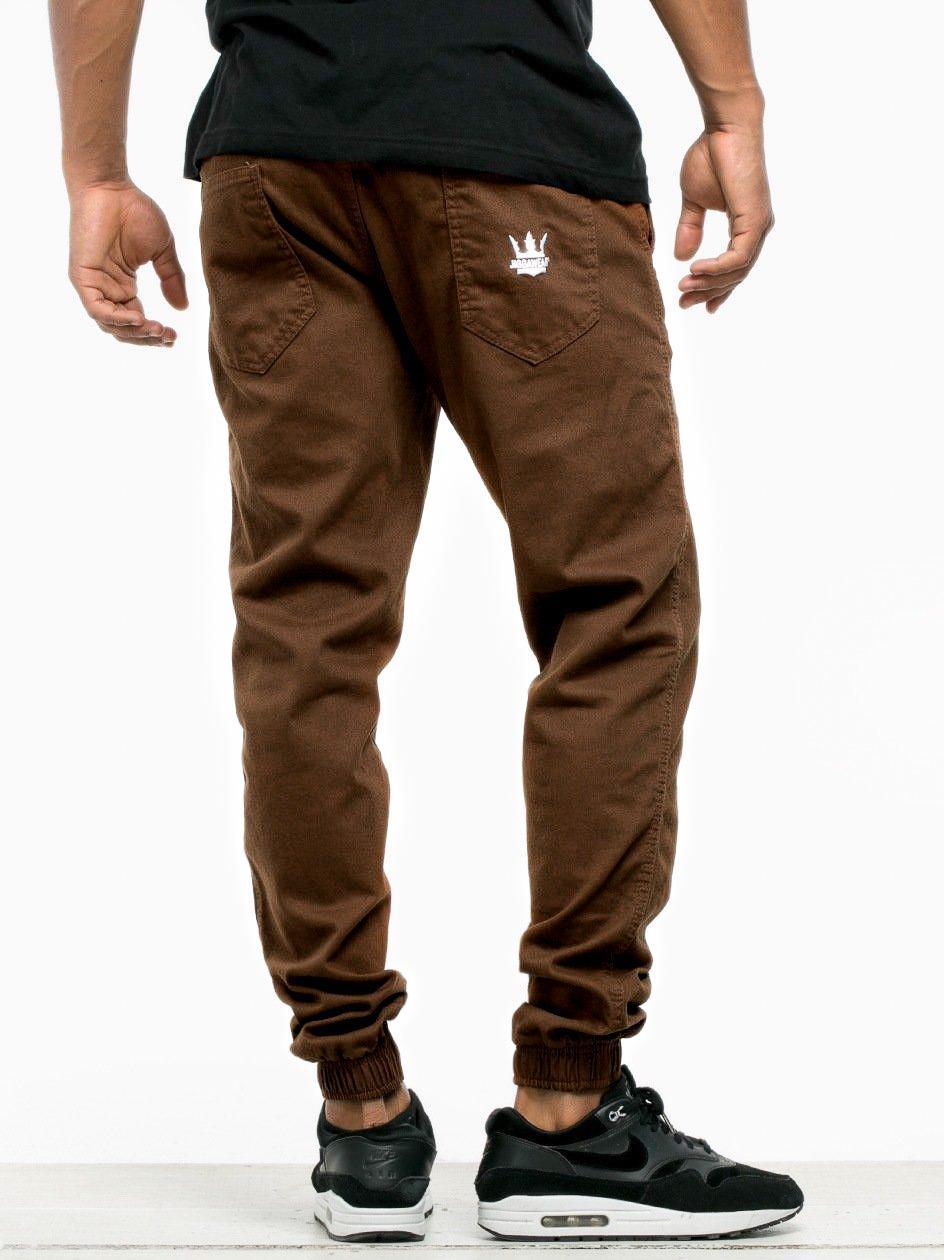 Spodnie Materiałowe Jogger Jigga Wear Crown Brązowe