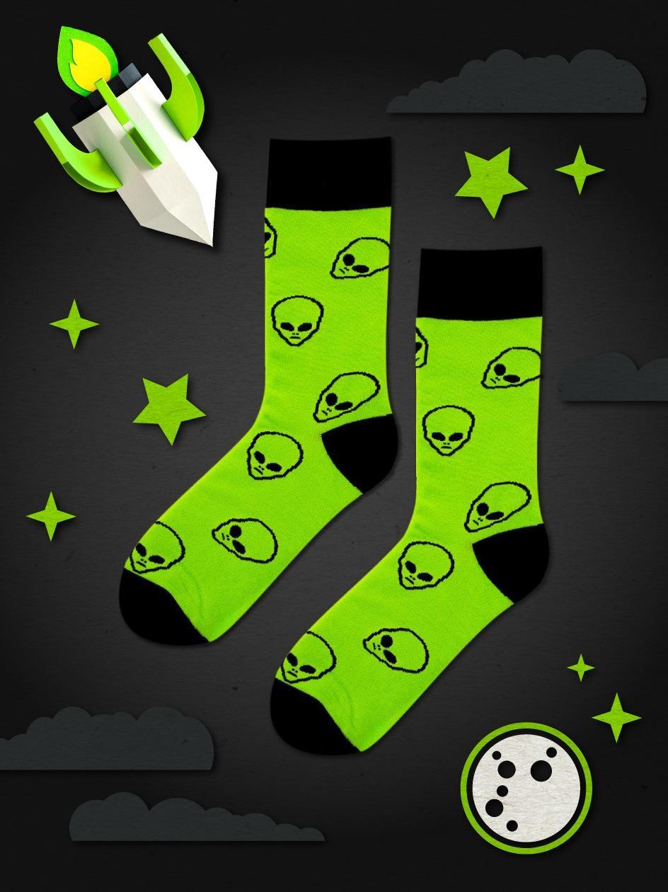 Długie Skarpety We Wzory MyStars x Blind Box Aliens Zielone