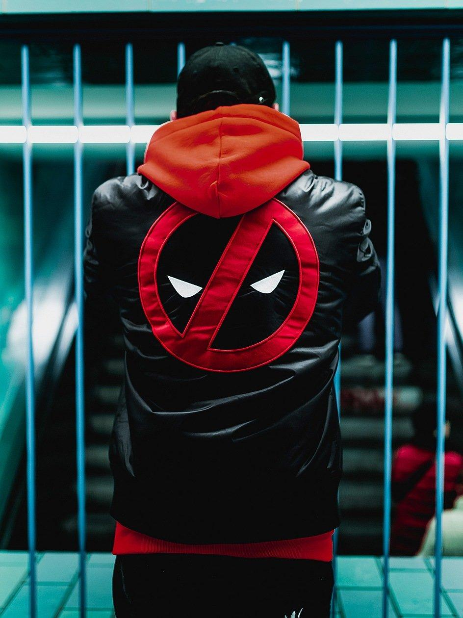 Deadpool Marvel Comics Back Character Bomber Jacket Black