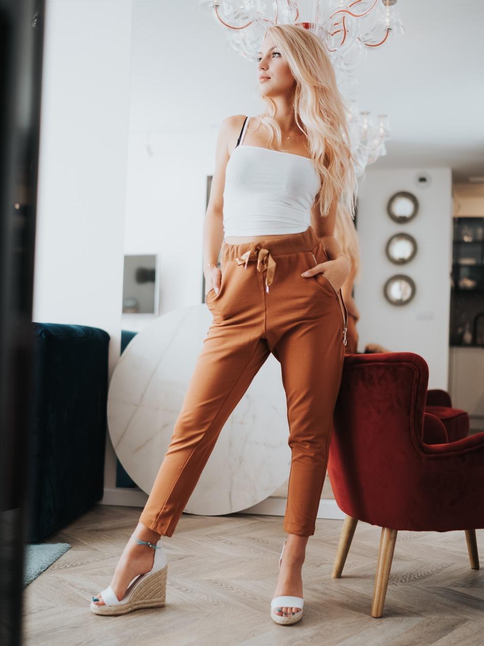 Spodnie Dresowe Point X Zip Up Brązowe