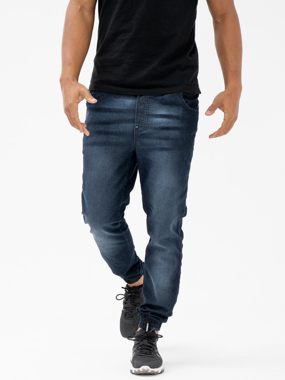 Spodnie Jeansowe Jogger Ze Ściągaczem Moro Sport Mini Paris Pocket Przecierane Ciemne Niebieskie PRODUKT Z WADĄ