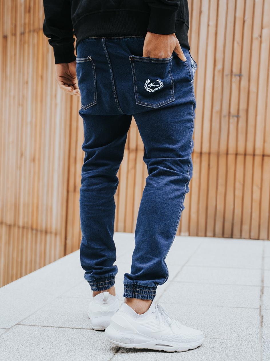 Spodnie Jeansowe Jogger Moro Sport Paris Laur Pocket Ciemne Niebieskie