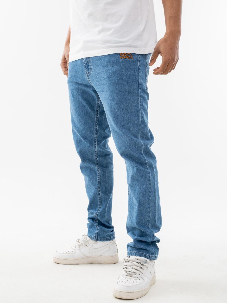 Spodnie Jeansowe Slim SSG Front Jasne Niebieskie