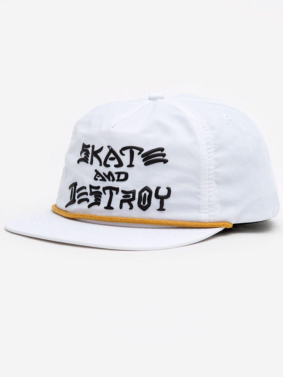 Skate And Destroy Puff Ink Snapback White