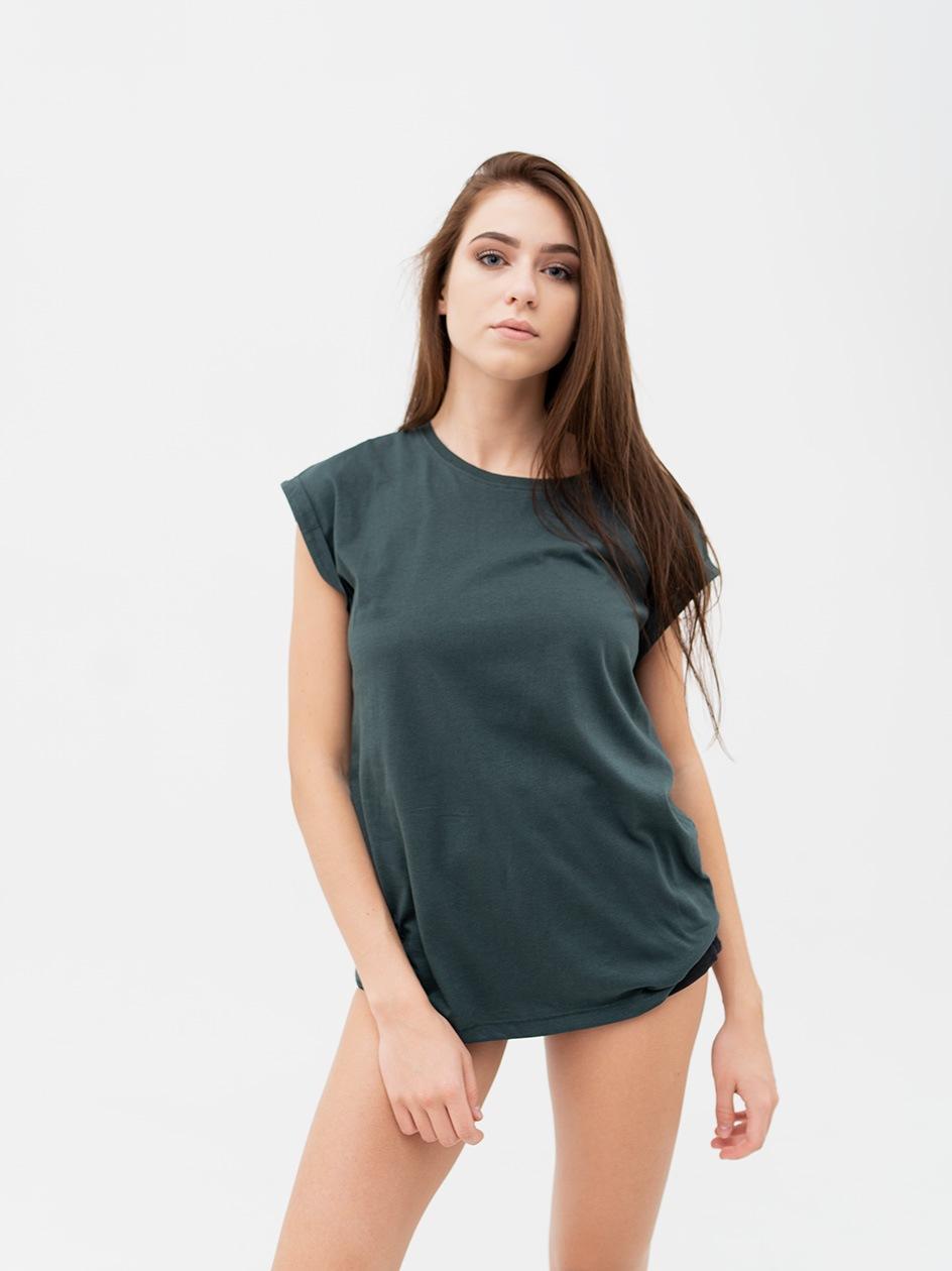 Damska Lużna Koszulka Z Krótkim Rękawem Urban Classics TB771 Butelkowa Zielona