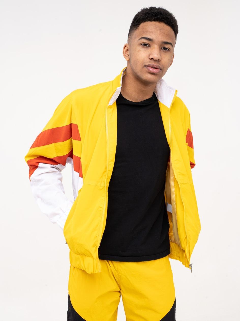 Bluza Rozpinana Z Ortalionu Plus Eighteen Stripes Żółta / Biała