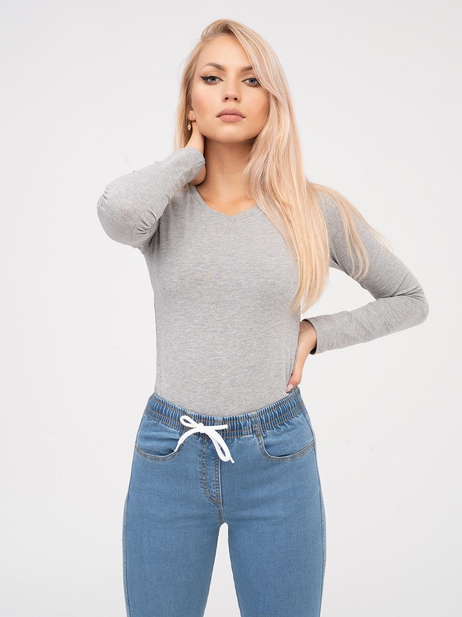 Damska Koszulka Z Długim Rękawem Point X Basic Jasna Szara