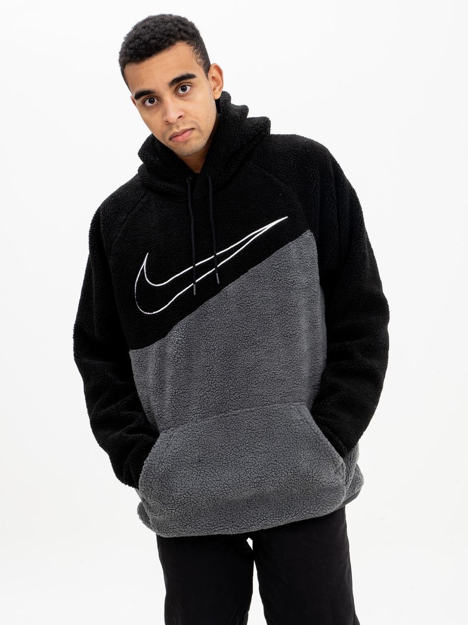 Bluza Z Kapturem z Tkaniny Typu Baranek Nike NSW Swosh PO SSNL Czarna