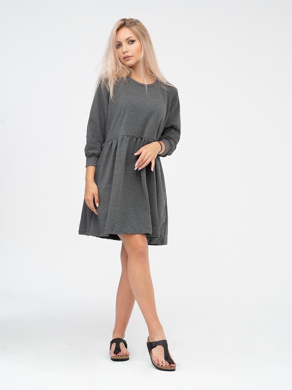 Sukienka Z Długim Rękawem Point X Basic Ciemna Szara