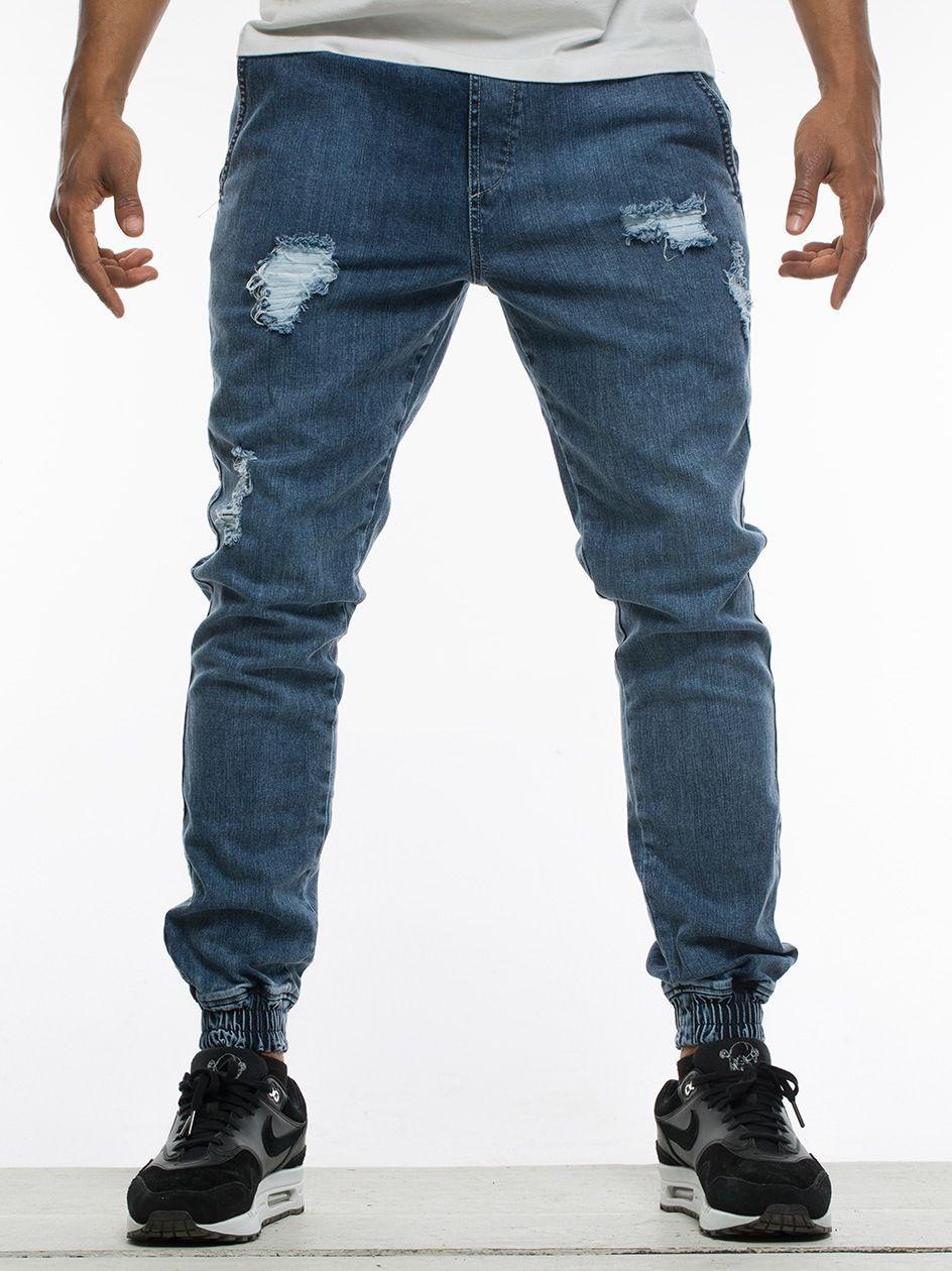 Spodnie Jeansowe Jogger Ze Ściągaczem Diamante RM Classic Ripped Niebieskie