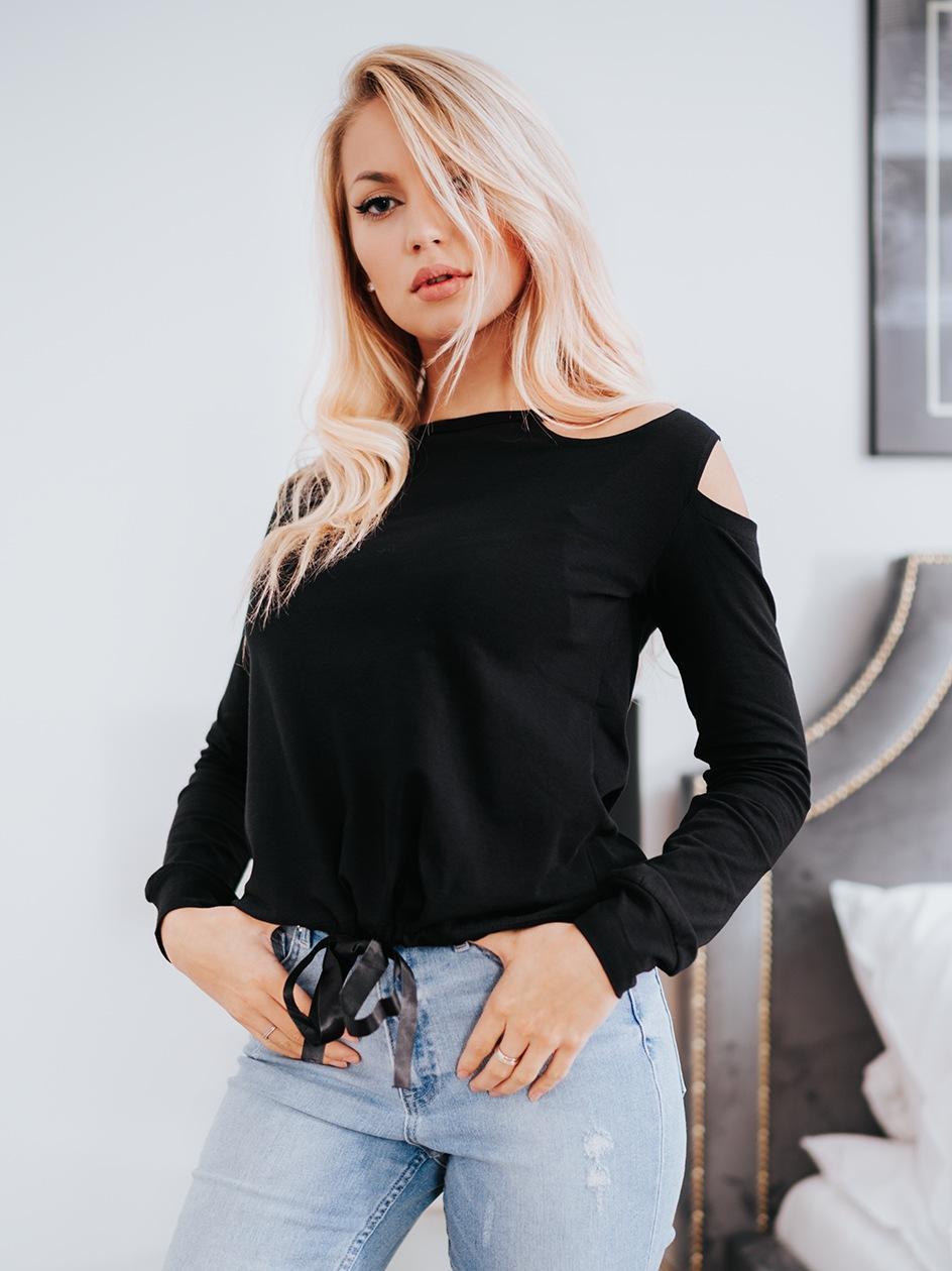 Damska Koszulka Z Długim Rękawem Point X Bow Czarna