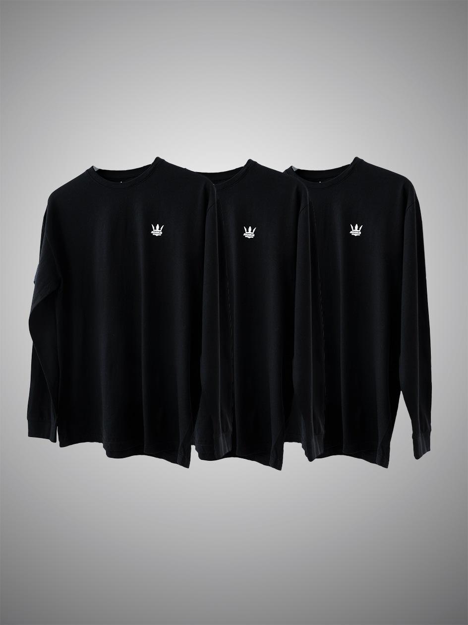Zestaw 3 Koszulek Długim Rękawem Jigga Wear Mini Crown Czarna
