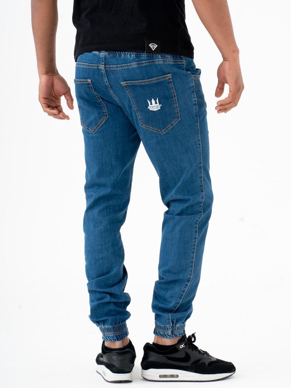 Spodnie Jeansowe Jogger Jigga Crown Średnie Niebieskie