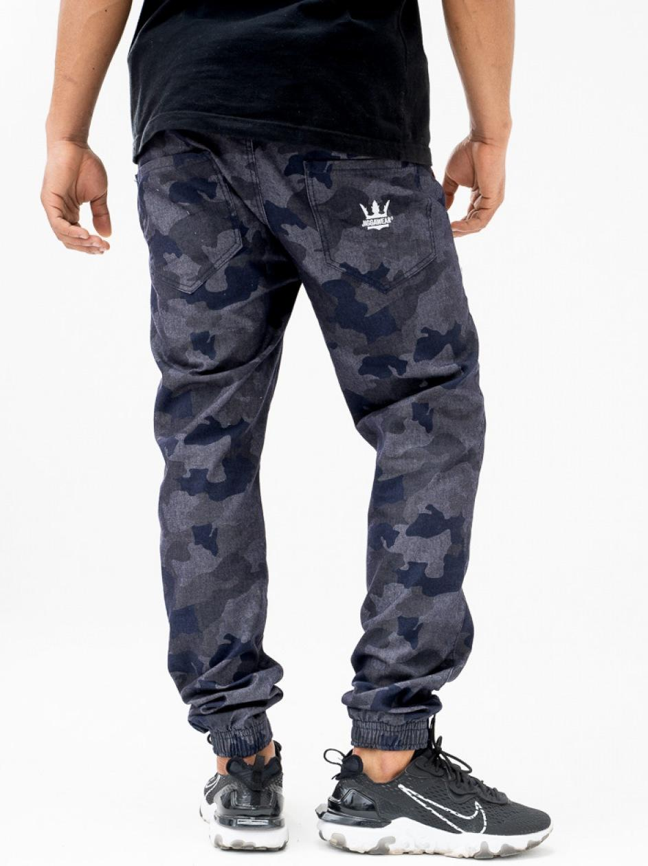Spodnie Jeansowe Jogger Jigga Crown Szare Camo