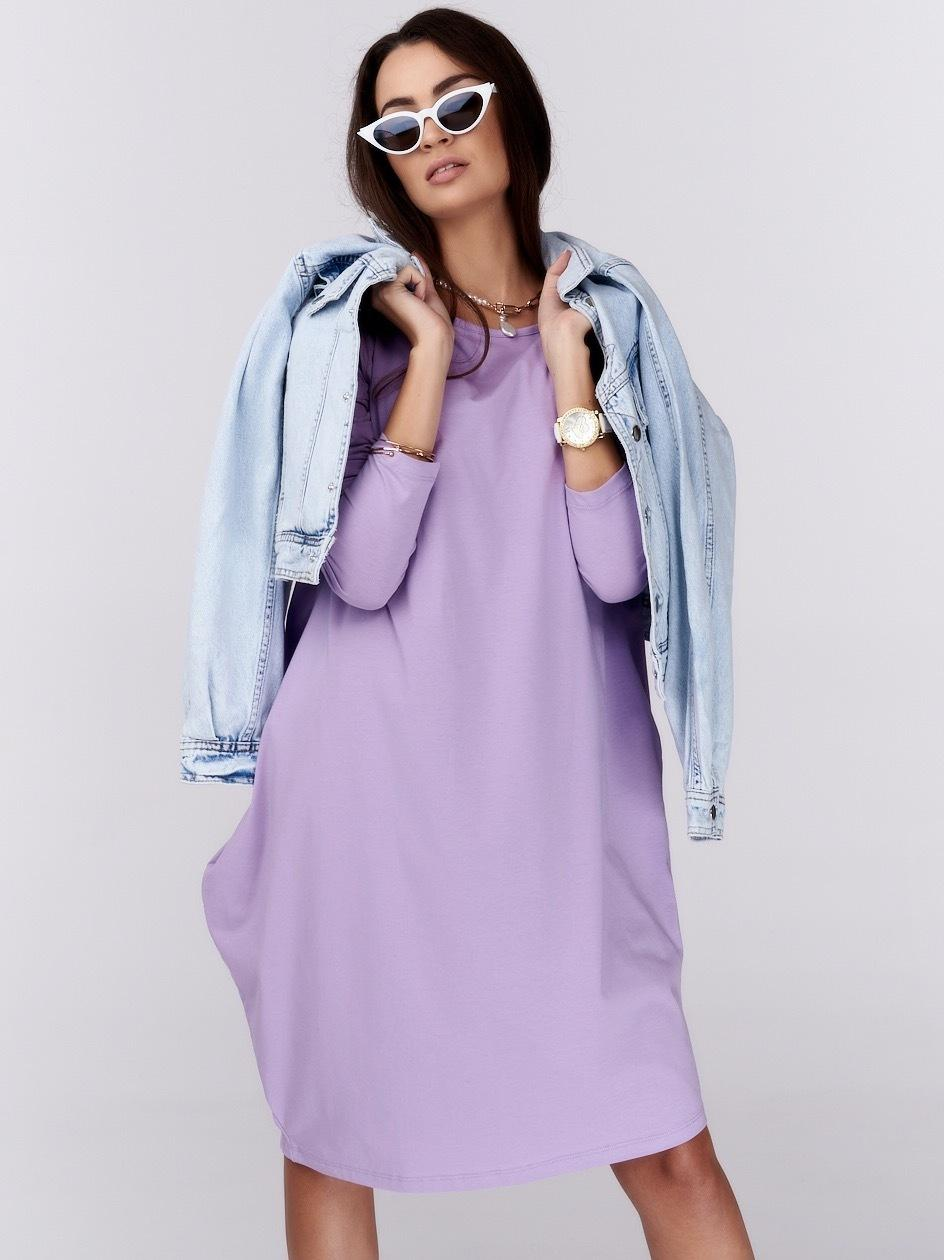 Sukienka Oversize Z Długim Rękawem Point X Base Jasna Fioletowa