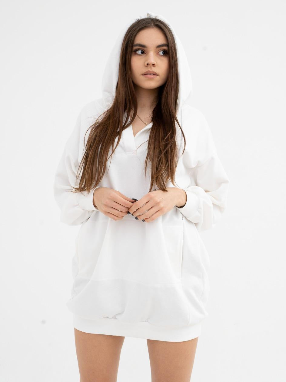 Damska Bluza Z Kapturem Przedłużana Point X Big Hood Biała