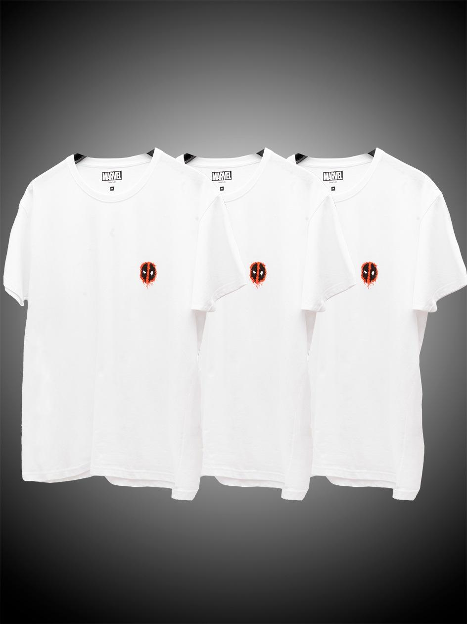 Zestaw 3 T-Shirtów Marvel Comics Deadpool Mini Logo Biały