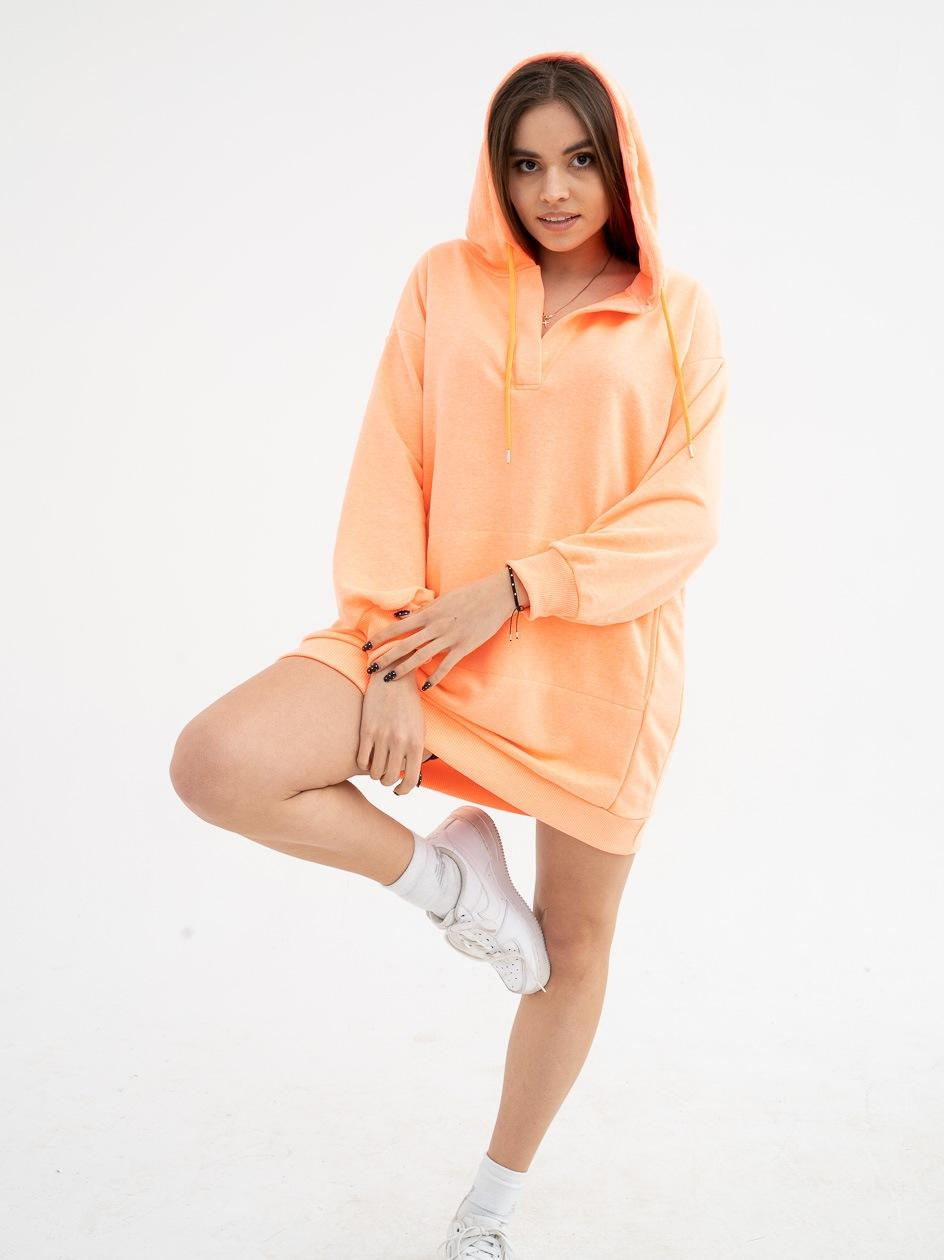 Damska Bluza Z Kapturem Przedłużana Point X Big Hood Neonowa Pomarańczowa