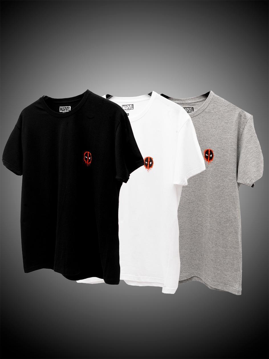 Zestaw 3 T-Shirtów Marvel Comics Deadpool Mini Logo Tee Czarny / Biały / Szary
