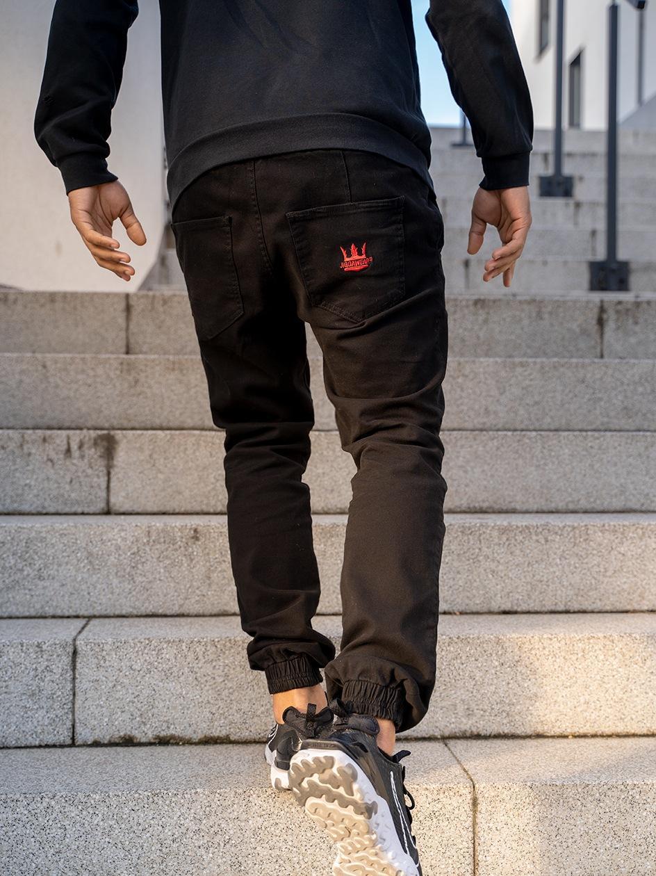 Spodnie Jogger Jigga Crown Deep Czarne / Czerwone