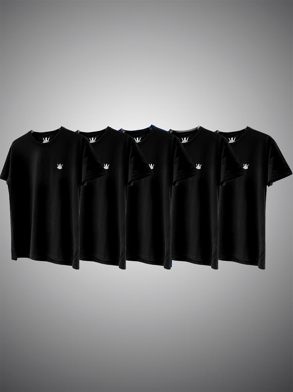 Zestaw 5 T-Shirtów Jigga Wear Mini Crown Czarnych