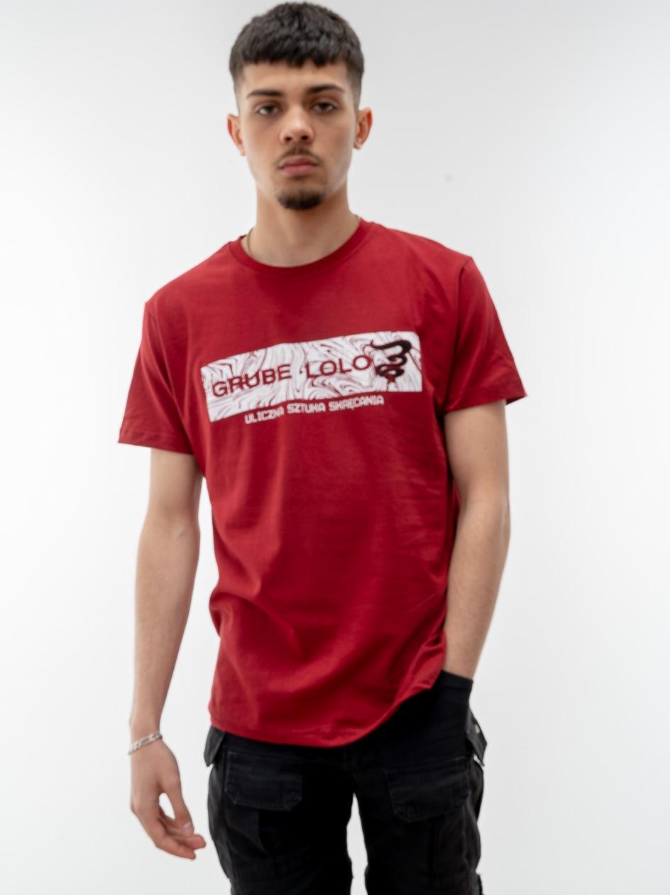 Koszulka Z Krótkim Rękawem Grube Lolo Wavy Box Logo Bordowa