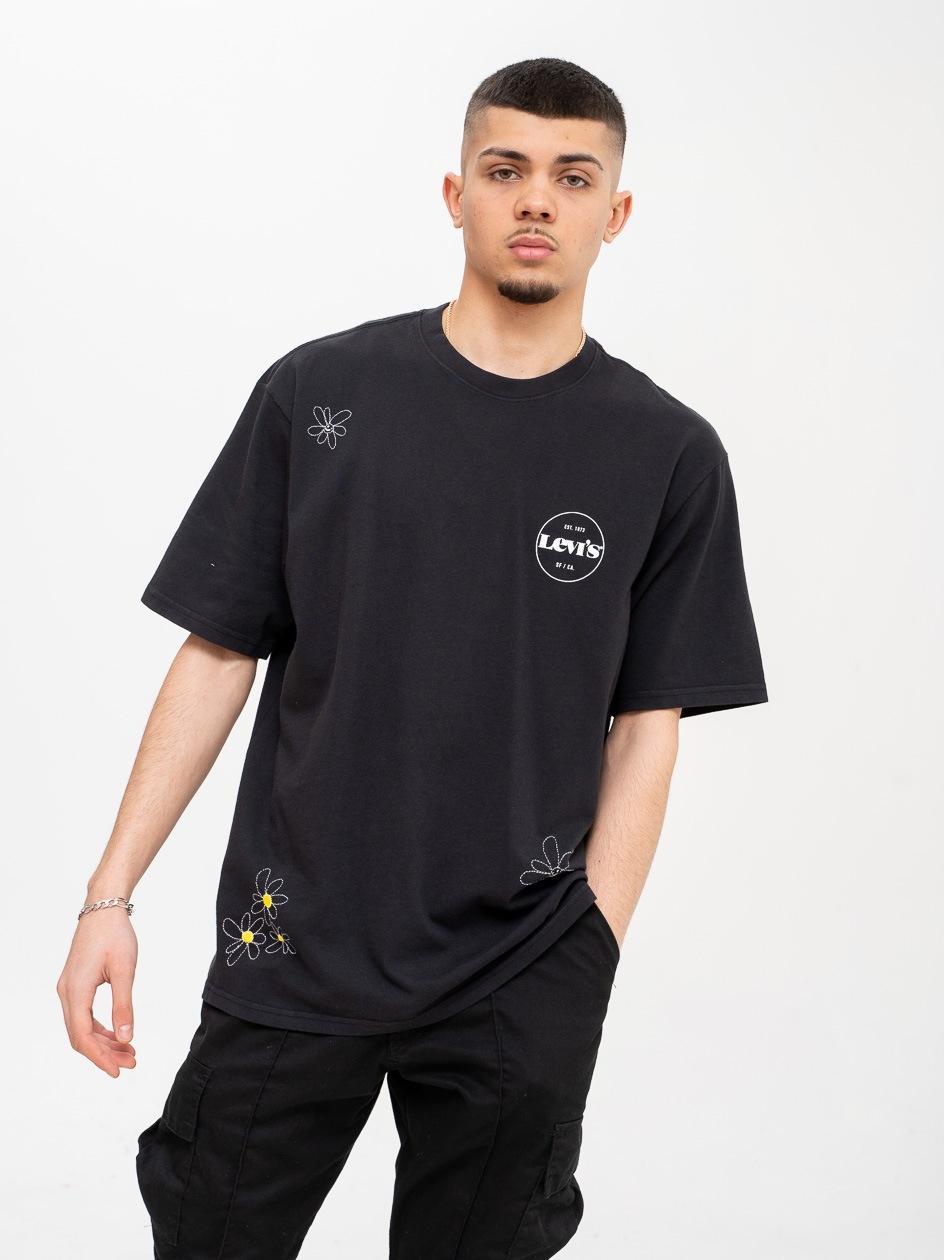 Koszulka Oversized Z Krótkim Rękawem Levis Stay Loose Doodle  Czarna