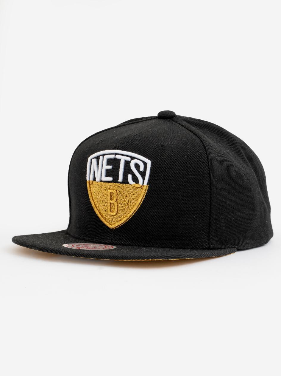Czapka Snapback Mitchell & Ness Brooklyn Nets NBA Gold Dip Down Czarna