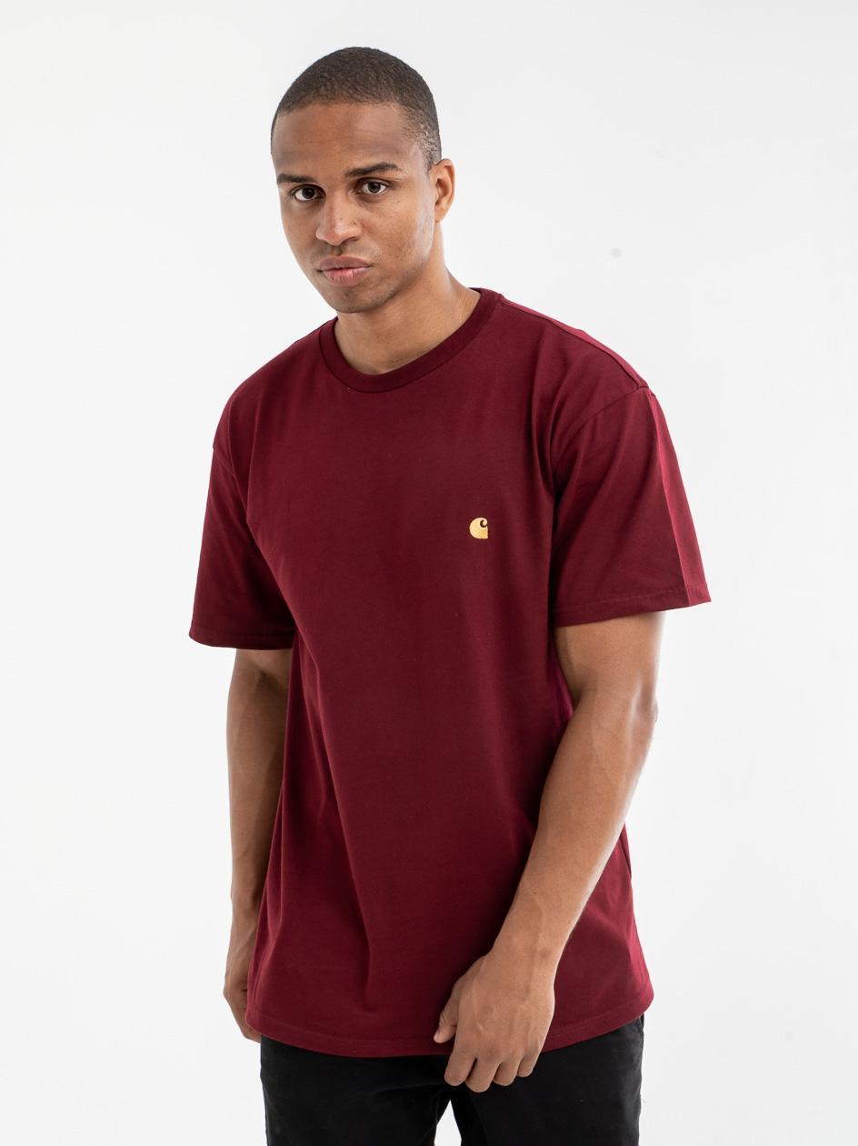 Koszulka Z Krótkim Rękawem Carhartt WIP Chase Bordowa / Złota
