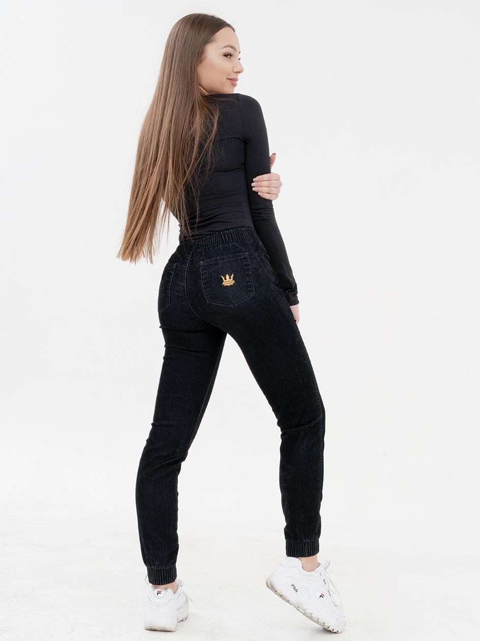Damskie Spodnie Jeansowe Jogger Jigga Crown Girl Slim Velvet Czarne / Żółte