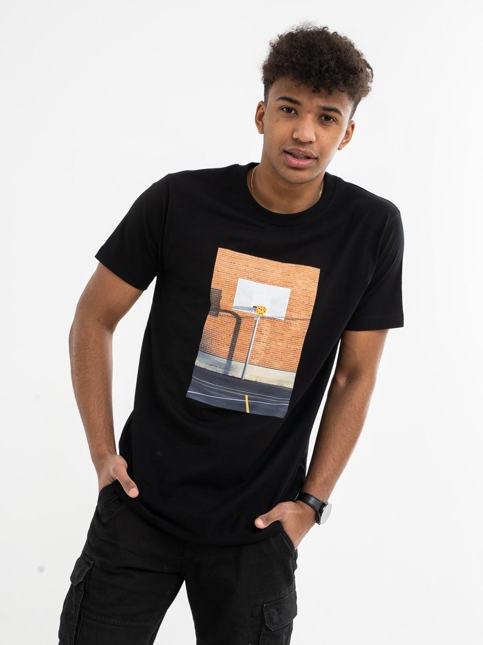 Koszulka Z Krótkim Rękawem Mister Tee Pizza Basketball Czarna