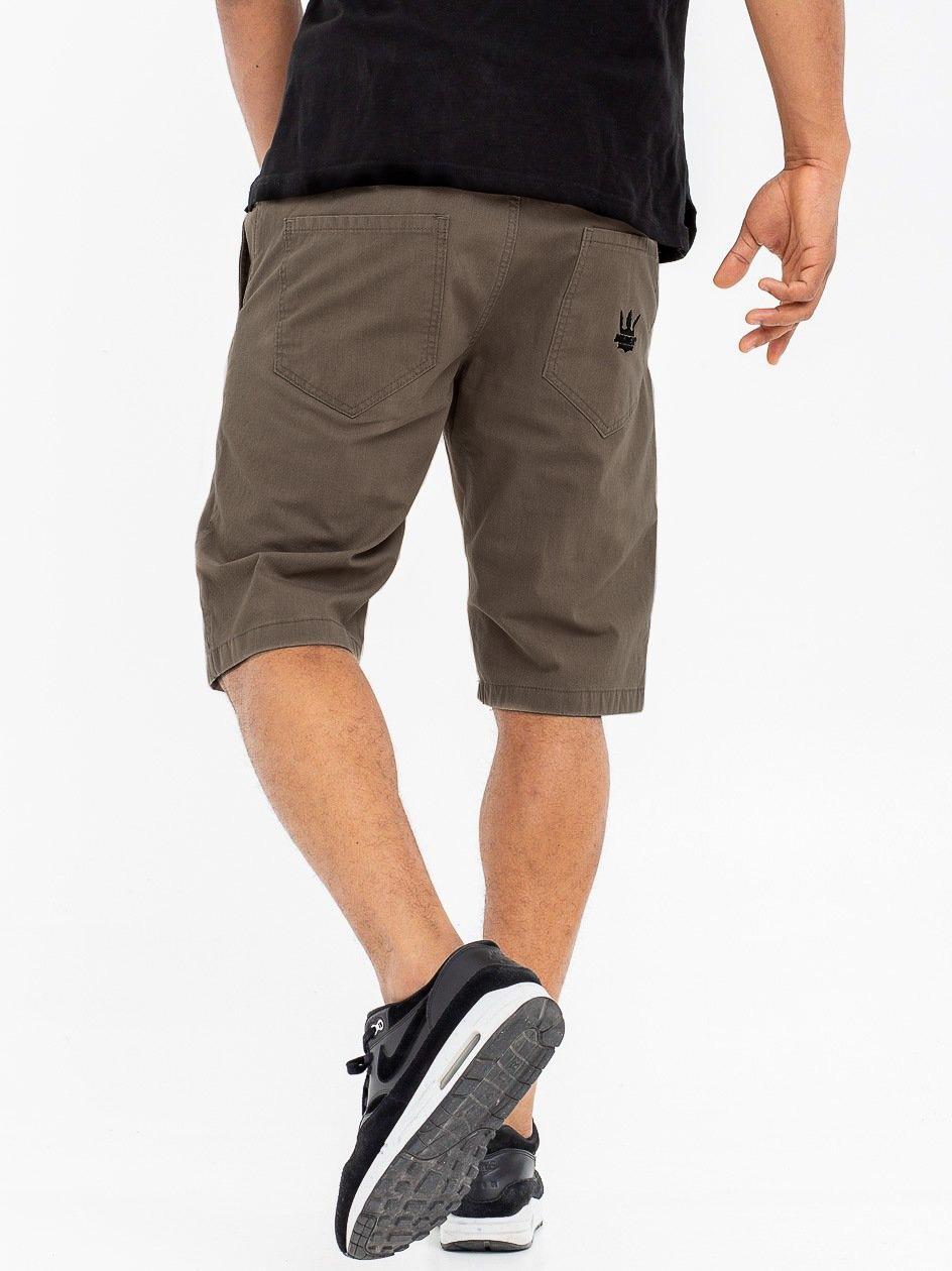Krótkie Spodenki Ze Ściągaczem Jigga Wear Crown Ciemne Beżowe / Czarne