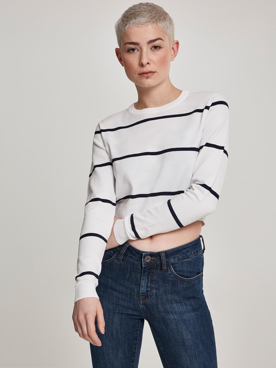 Ladies Short Striped Sweater White Navy TB2616