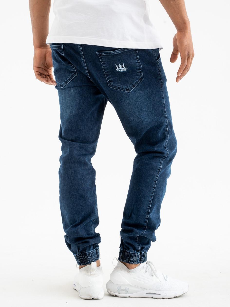 Spodnie Jeansowe Jogger Z Przetarciami Jigga Crown Stitch Sprane Granatowe