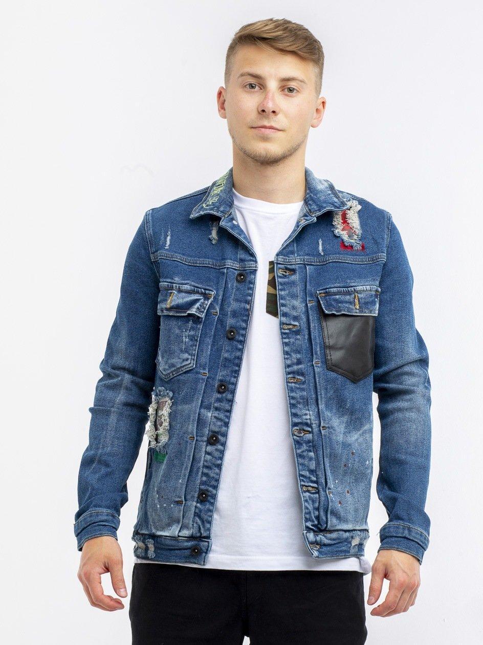 Leather Pocket Jeans Jacket Blue